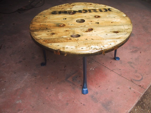 Spool Table with blue legs